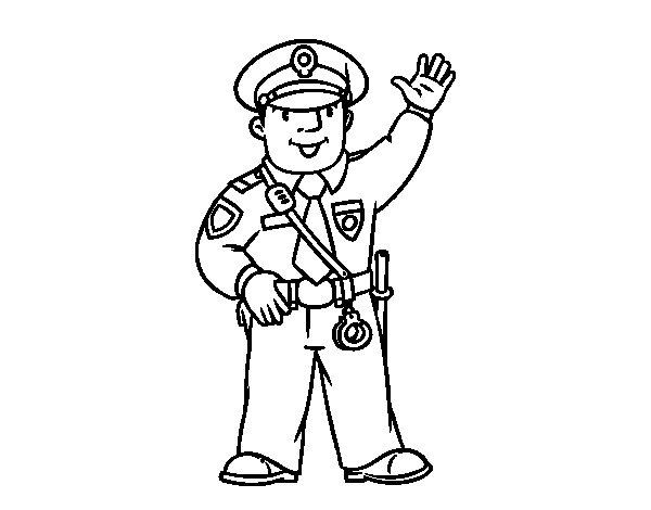 Disegno di Un poliziotto da Colorare
