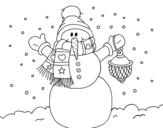 Disegno di Un pupazzo di neve di Natale da colorare