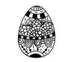 Disegno di Un uovo di Pasqua floreale da colorare