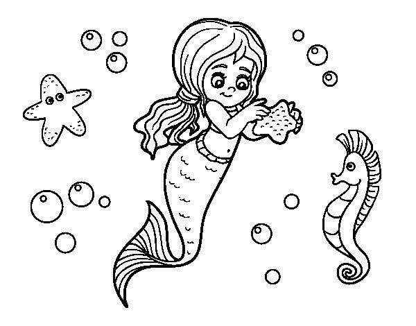 Disegno di Una bellissima sirena da Colorare