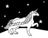 Disegno di Unicorno guardando le stelle da colorare