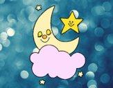 Disegno Stella e luna pitturato su Siso