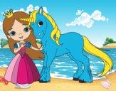 Disegno Principessa e unicorno pitturato su Mici