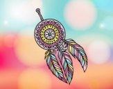 Disegno di indiano con le piume da colorare for Acchiappasogni disegno