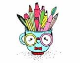 Copo animado com lápis