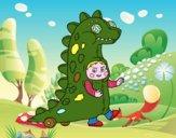 Bambino vestito come un dinosauro