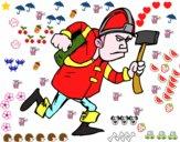 Vigile del fuoco con ascia