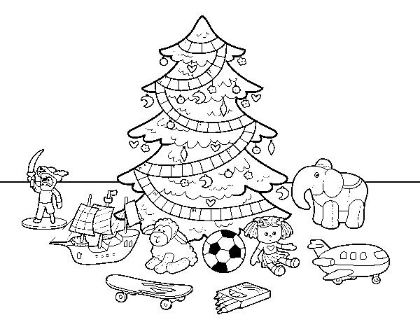 Disegni Da Colorare Albero Di Natale.Disegno Di Albero Di Natale Con Giocattoli Da Colorare Acolore Com