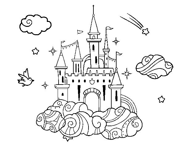 Disegno Di Castello Fra Le Nuvole Da Colorare Acolorecom