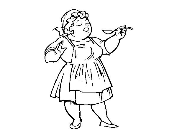 Disegno Di Dama Cuoco Da Colorare Acolore Com
