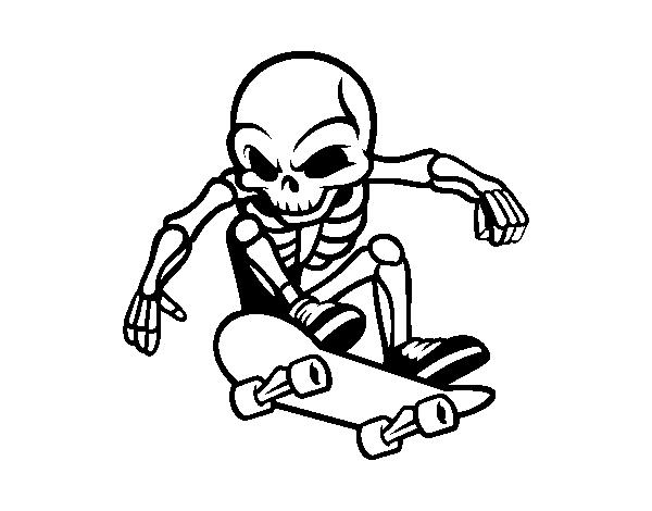 Disegno di scheletro skater da colorare - Scheletro foglio da colorare ...