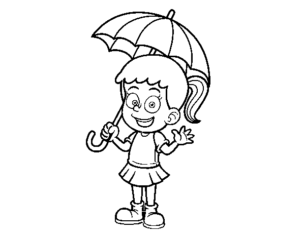 Disegno Di Una Ragazza Con Un Ombrello Da Colorare Acolorecom