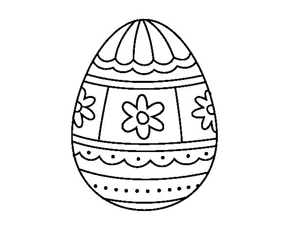 Disegno di Uovo di Pasqua con decorazioni da Colorare